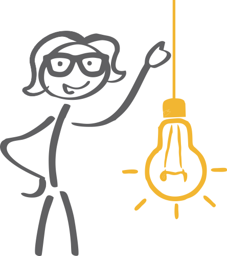stick figure girl with glasses next to a giant lightbulb