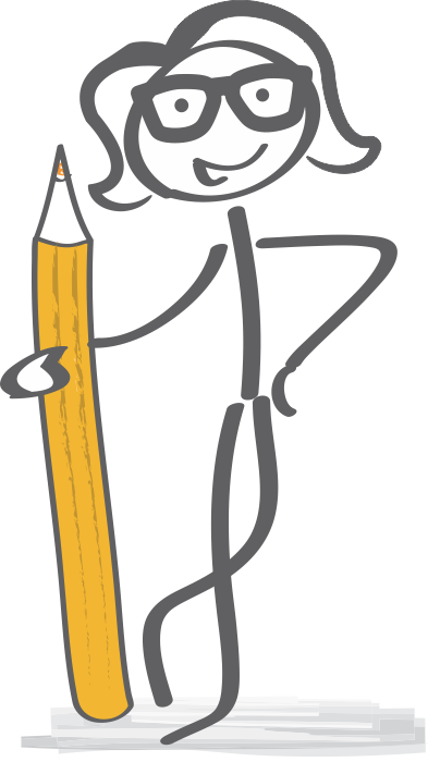 stick figure girl with glasses holding a giant pencil