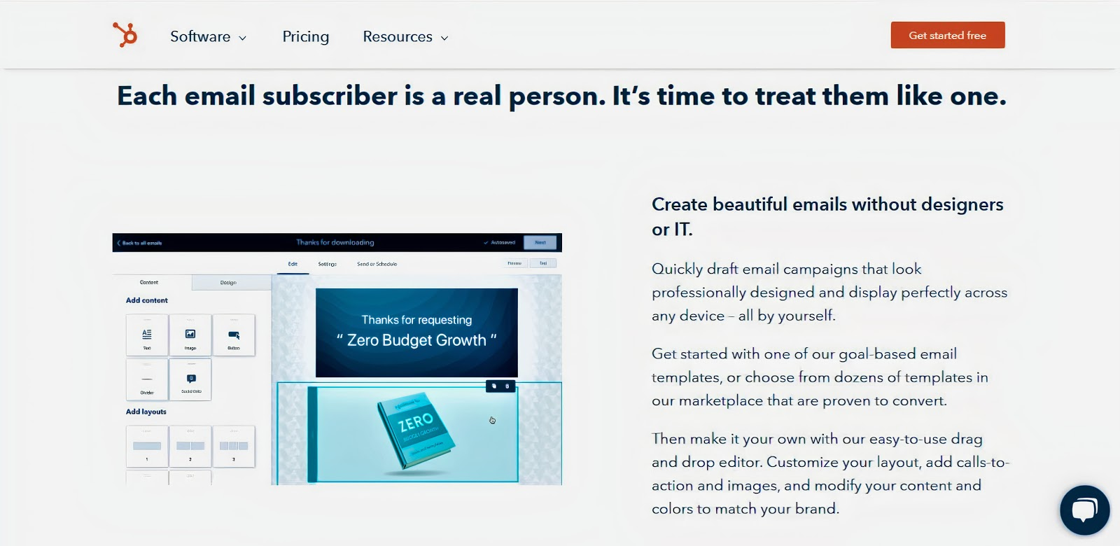 A screenshot of the HubSpot landing page about their email marketing tool