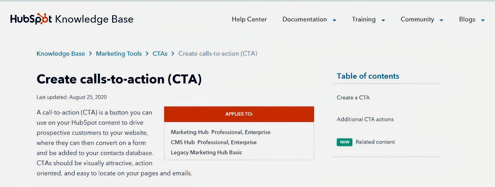 A screenshot of a webpage about creating CTAs, from the HubSpot website