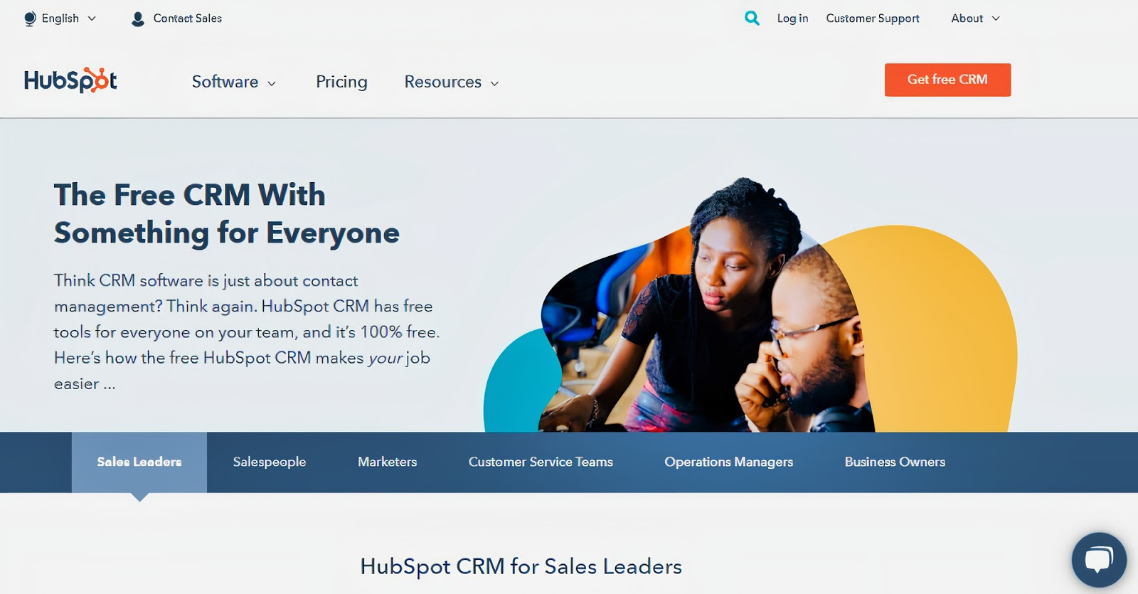 A screenshot of a landing page about HubSpot CRM, one of the top HubSpot tools for freelance writers