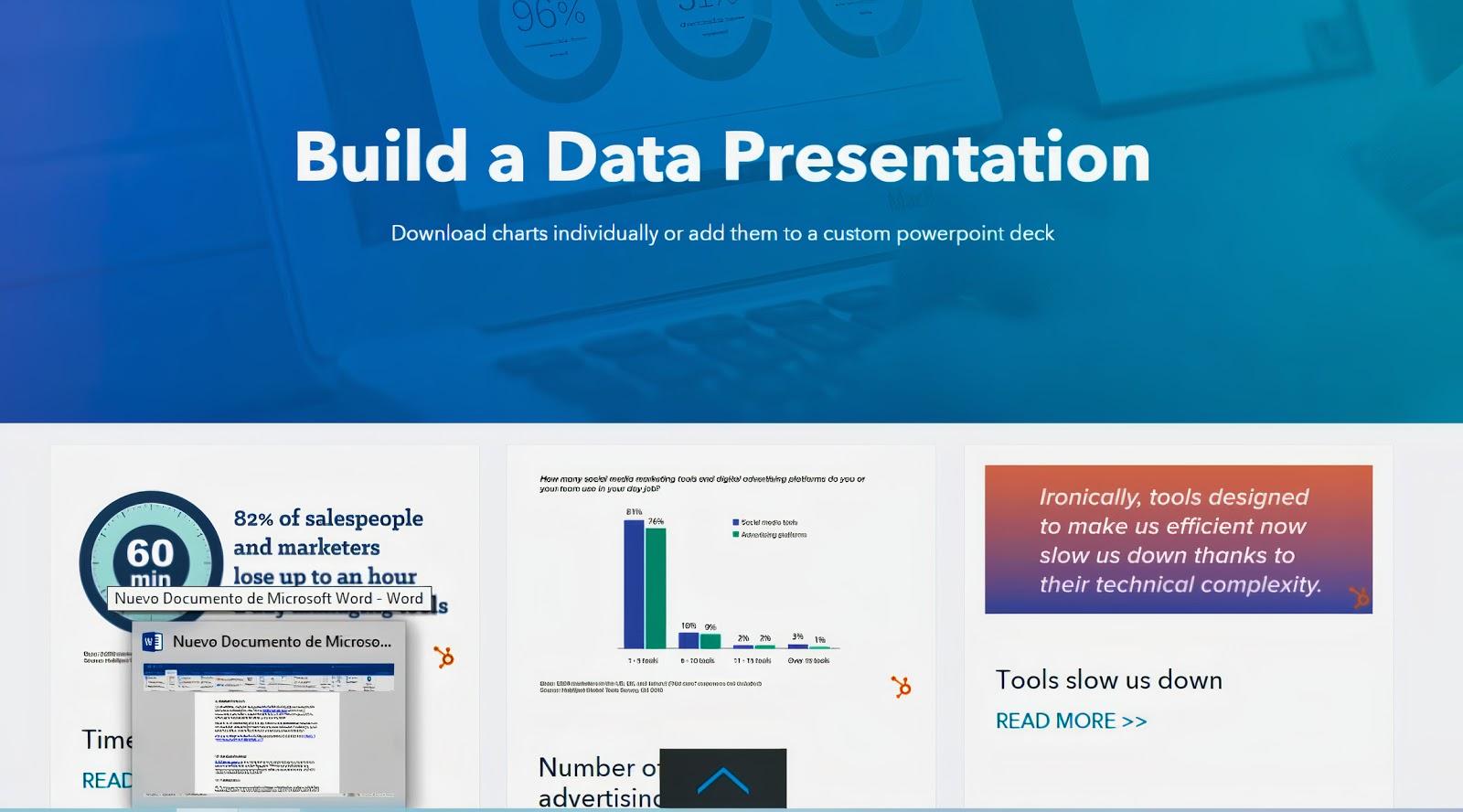 A screenshot of a HubSpot webpage about building a data presentation