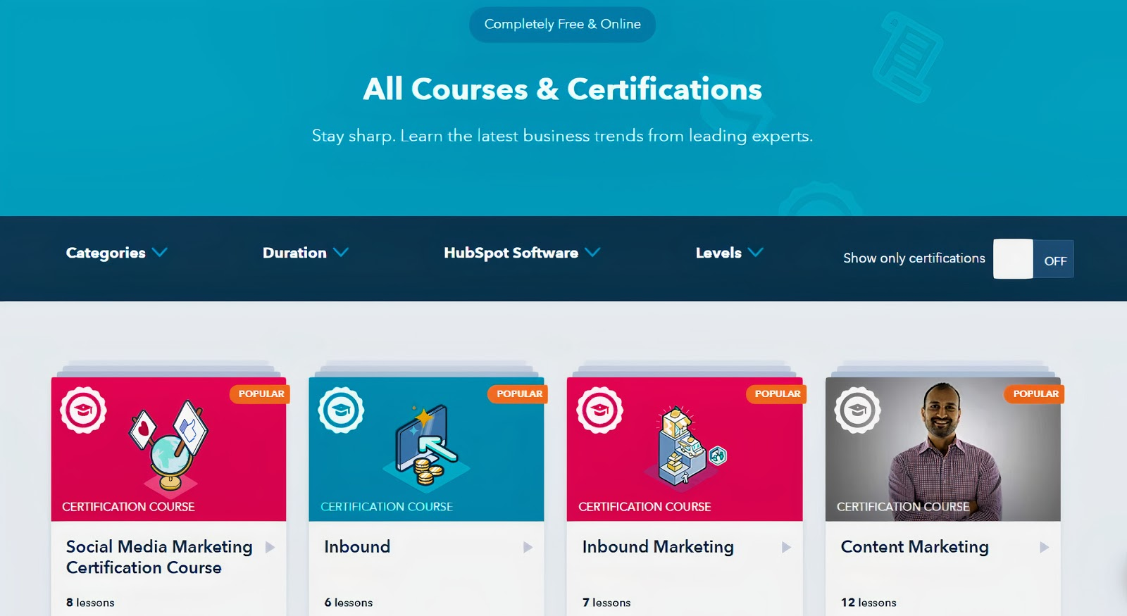 A webpage showing all the HubSpot courses you can take
