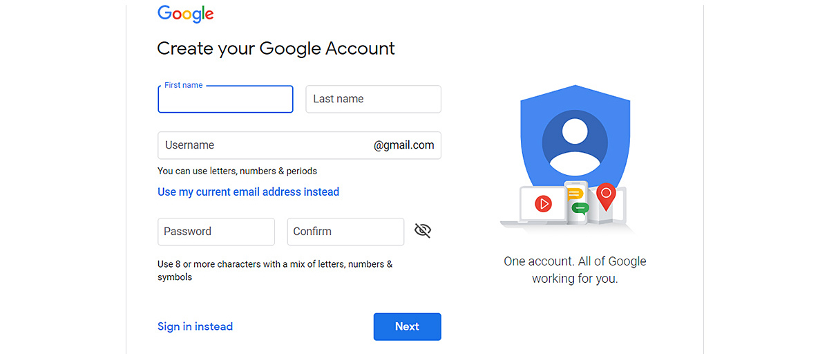 Screenshot of the Google account creation page