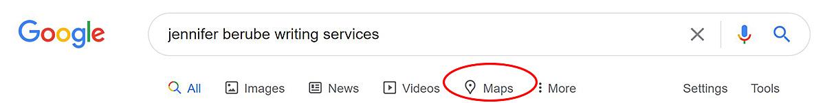 Screenshot showing the Google Maps tab header