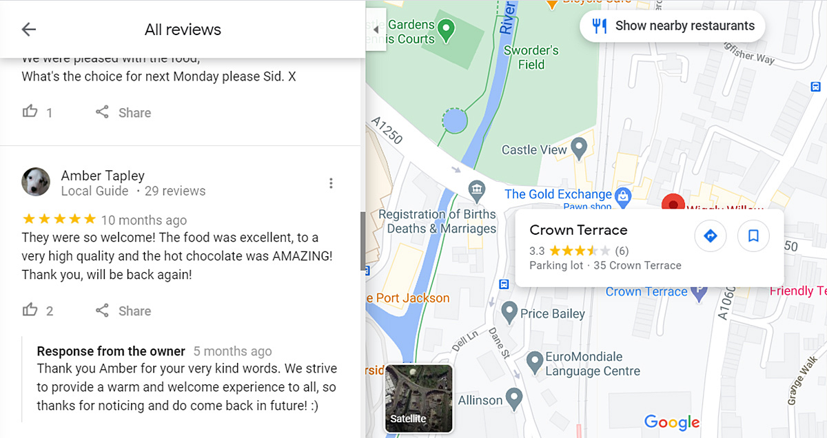 Screenshot showing a positive review left by a customer