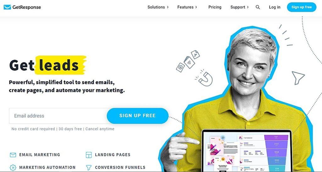 Screenshot of GetResponse homepage