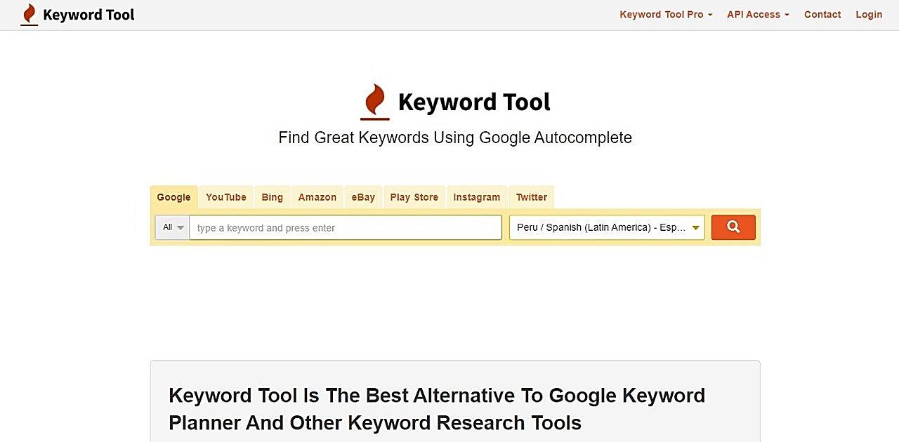Screenshot of Keyword Tool homepage