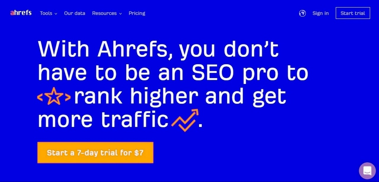 Screenshot of the Ahrefs page, explaining that you don't need to be an SEO pro to rank higher