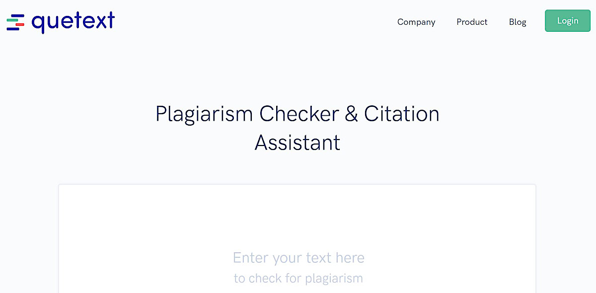 Screenshot of a text box where you can enter content to check for plagiarism using Quetext