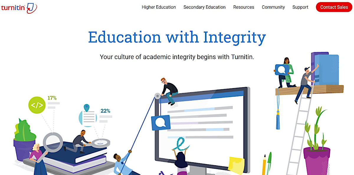 Screenshot of the Turnitin homepage, an online plagiarism checker aimed at academic writers