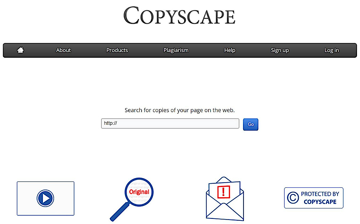 Screenshot of the Copyscape homepage, one of the best online plagiarism checkers