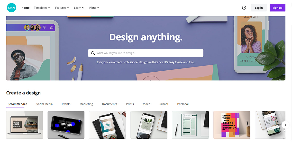 Screenshot of the Canva homepage, one of the best marketing tools for freelance writers