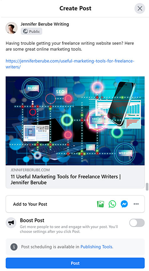 A Facebook post promoting an article on a freelance writing blog
