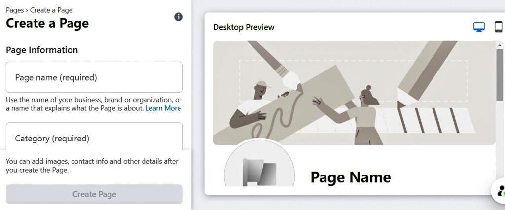 Create a page on Facebook as a freelance writer