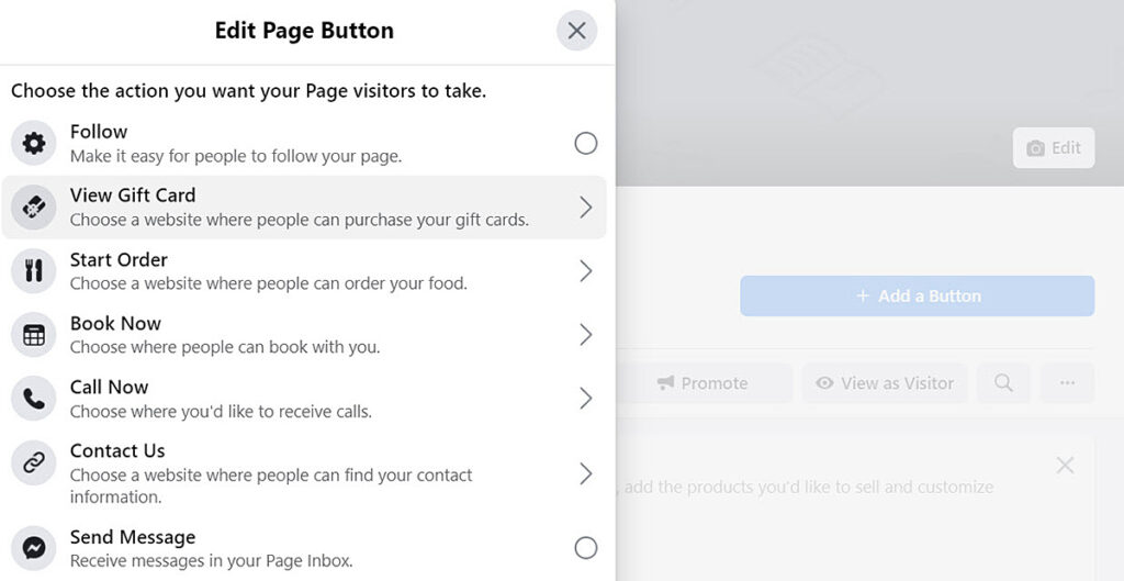 Add a button to create a call to action to start marketing on your Facebook business page