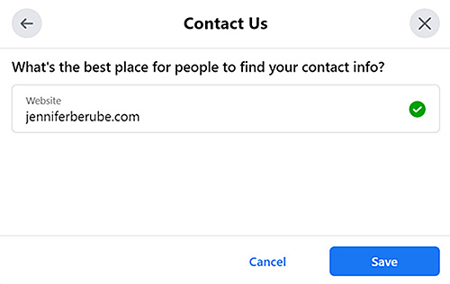 Add your website to your Contact Us section on Facebook