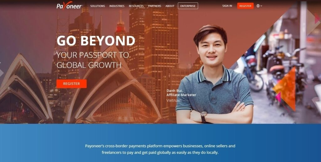 Payoneer homepage screenshot