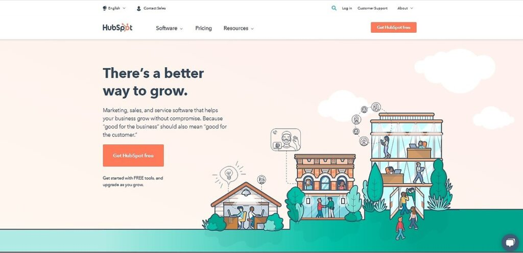 Screenshot of HubSpot home page
