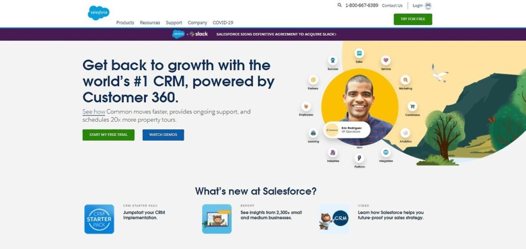 Screenshot of Salesforce home page