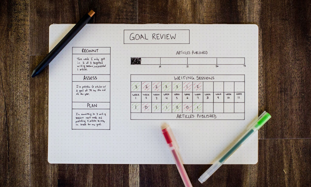 Goal Review of a writer with article planning and publishing goals