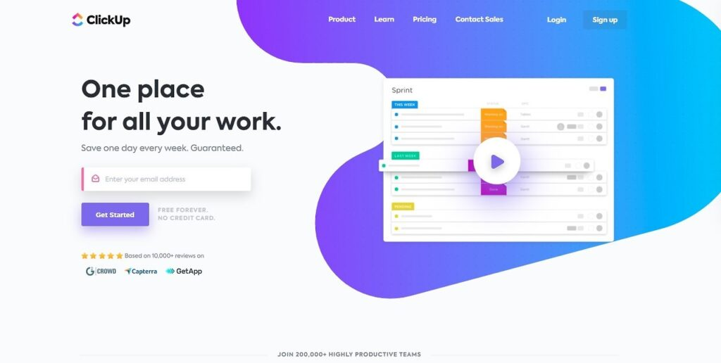 Clickup homepage that reads one place for all your work