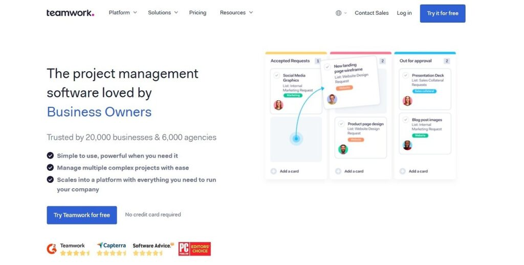 Teamwork homepage with tagline, the project management software loved by business owners