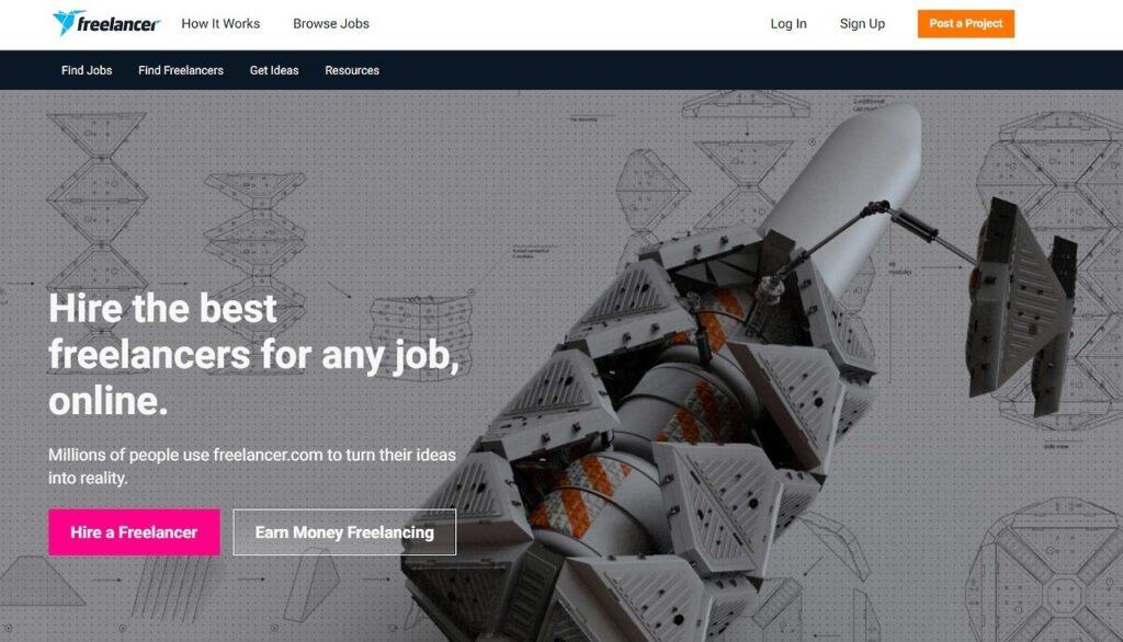 Freelancer Home Page Screenshot