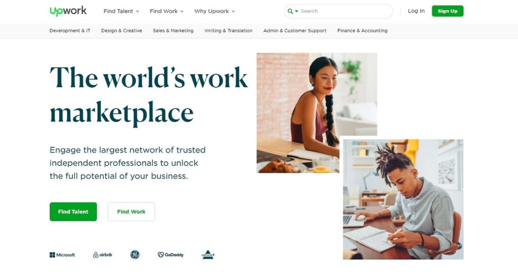 Upwork Home Page Screenshot