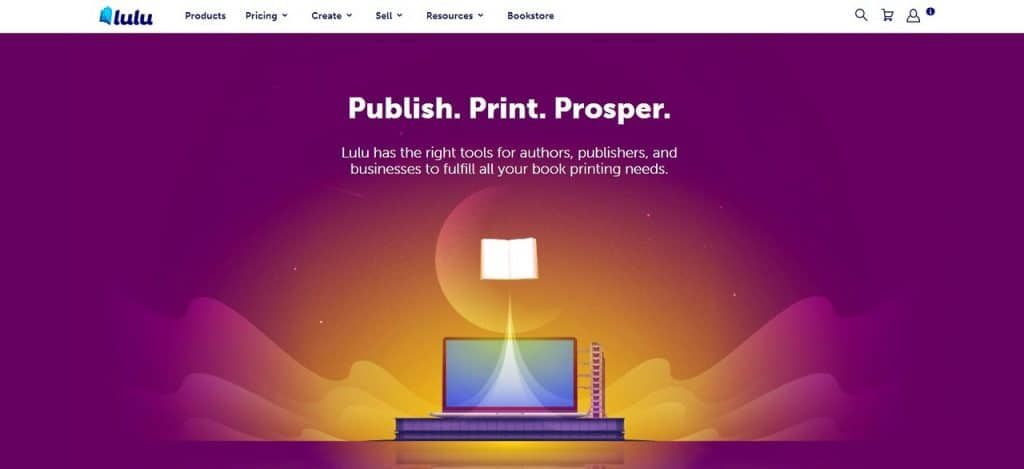 Lulu self-publishing services homepage
