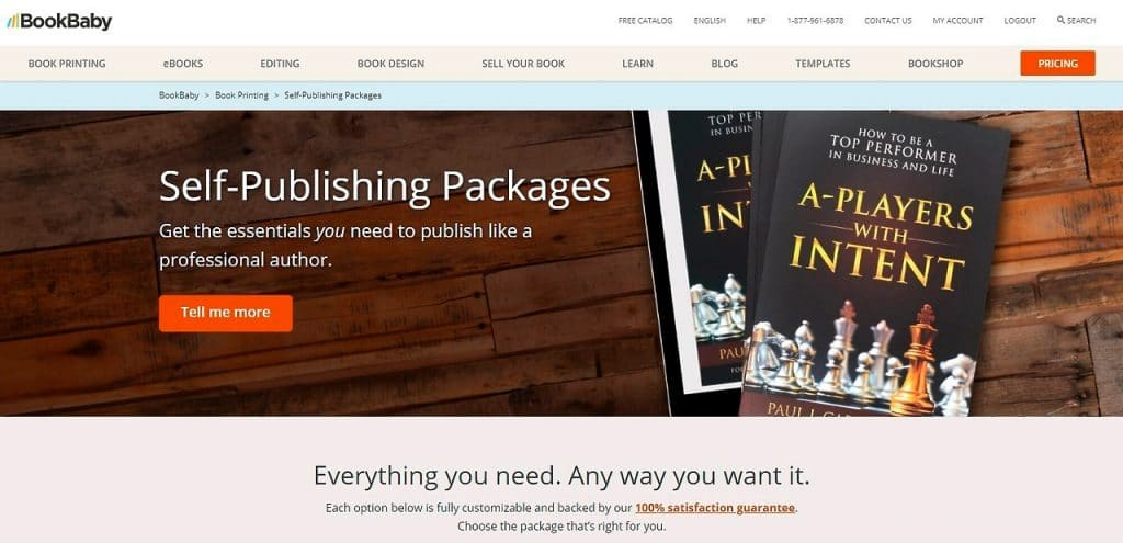 BookBaby self-publishing packages