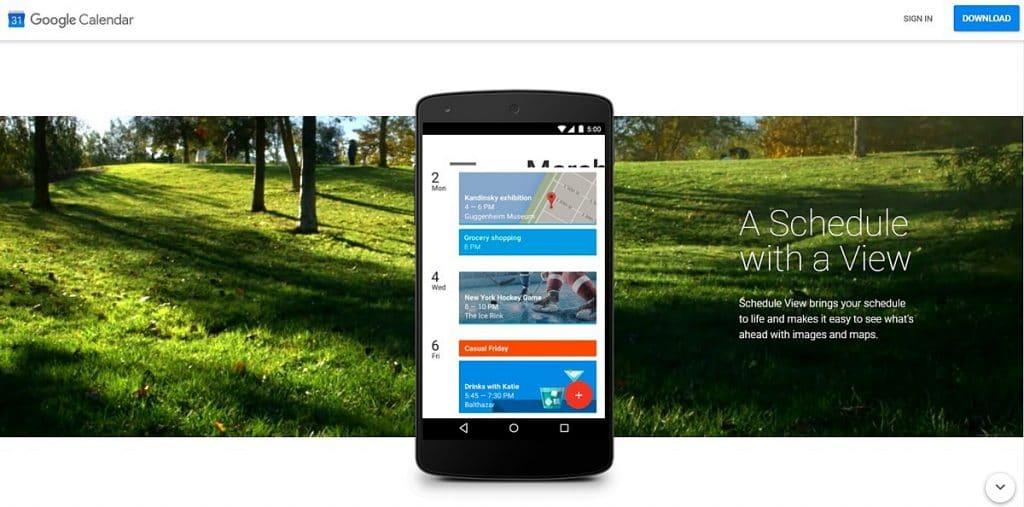 Google calendar app homepage showing how it looks on smartphone