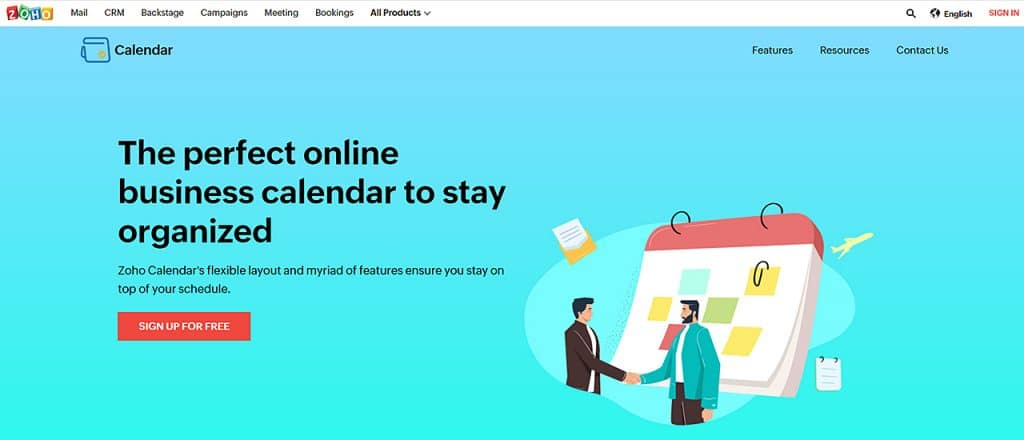 Zoho calendar app homepage with two men shaking hands
