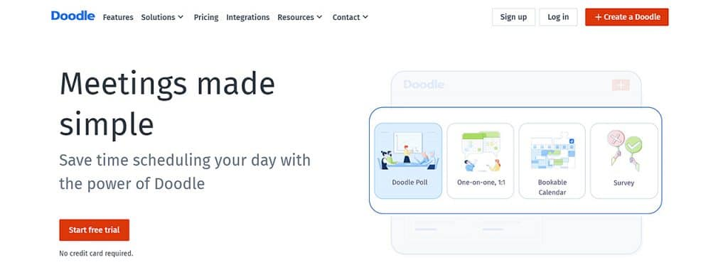 Doodle calendar app homepage with illustrations showing its productivity features