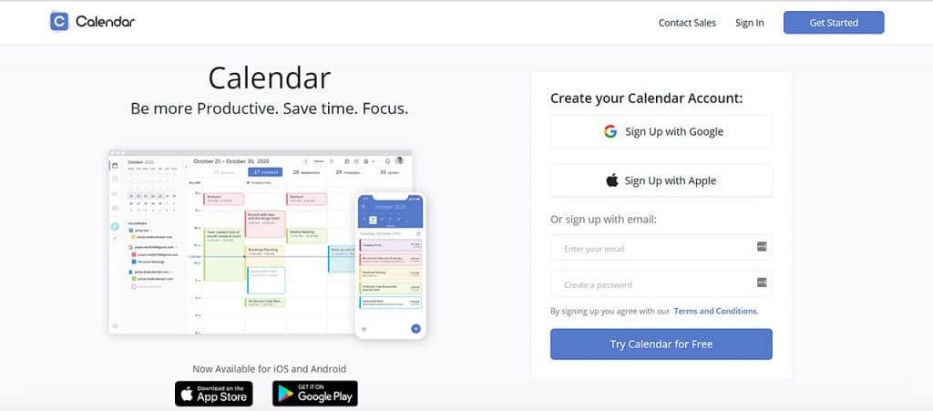 Calendar app homepage showing its calendar and sign up form
