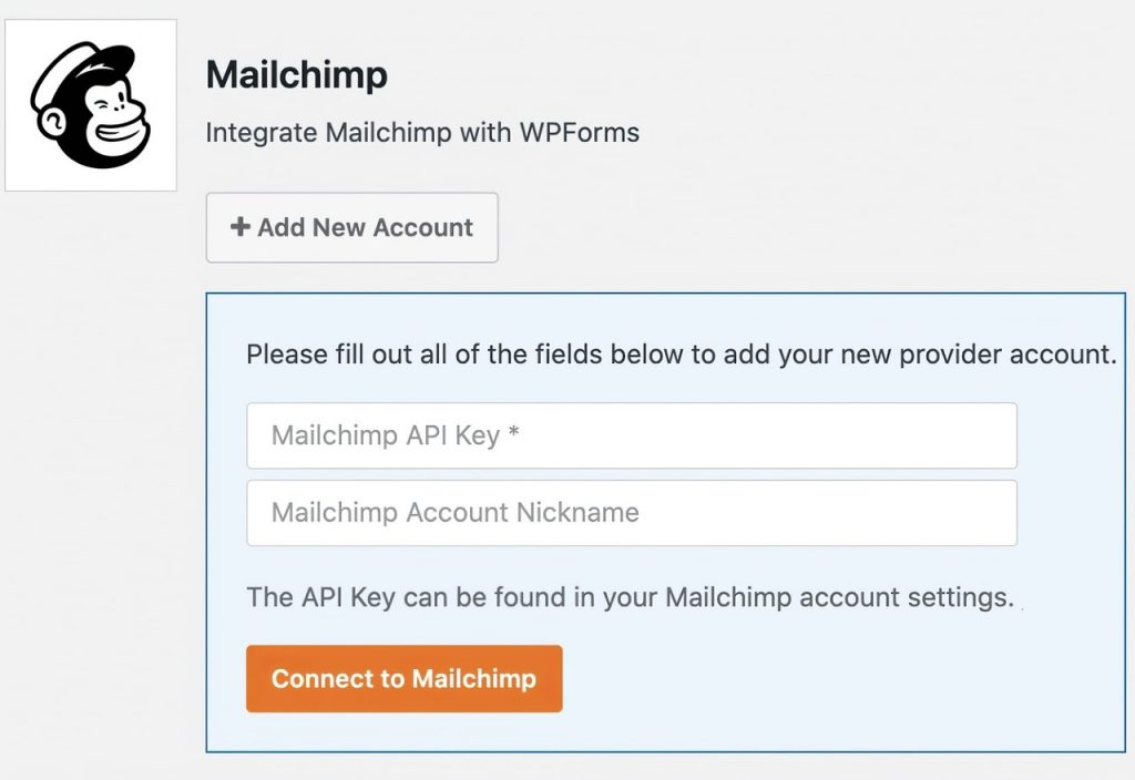 Integrate Mailchimp with WPForms by adding API key