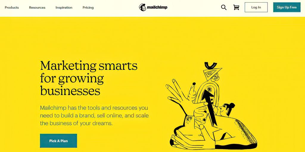 Mailchimp home page that reads marketing smarts for growing businesses
