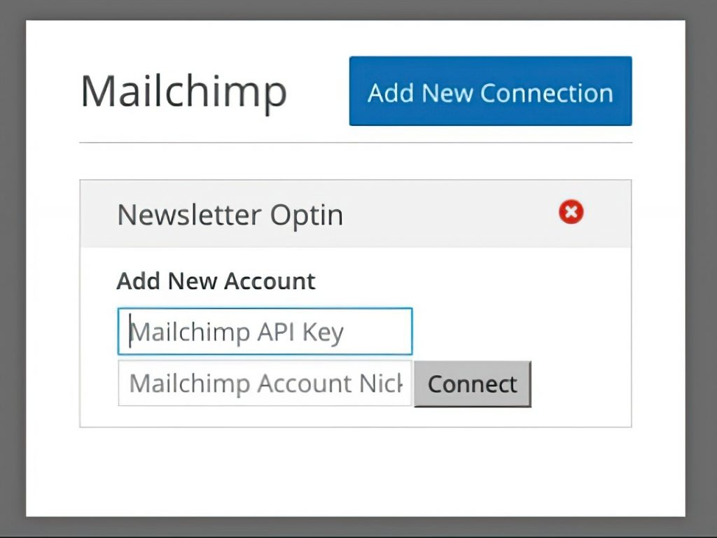 Mailchimp add new connection tab for newsletter optin
