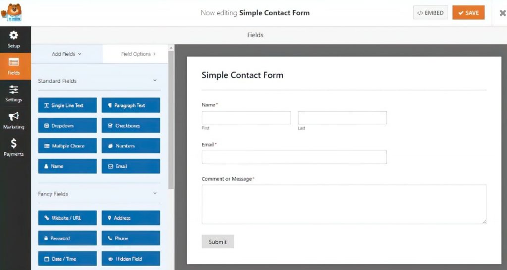 Create a simple contact form with Mailchimp and WPForms