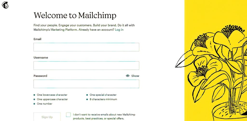 Welcome to Mailchimp log in page