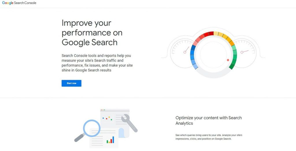 Google Search Console homepage with its two main value propositions