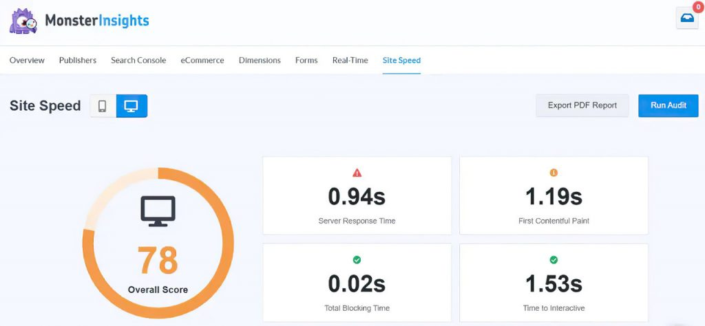 MonsterInsights site speed report showing how to Improve WordPress Site Vitals Score