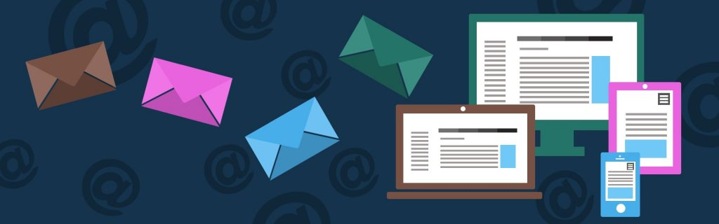 Vector image of laptop and mobile devices with envelopes floating beside them to portray email marketing