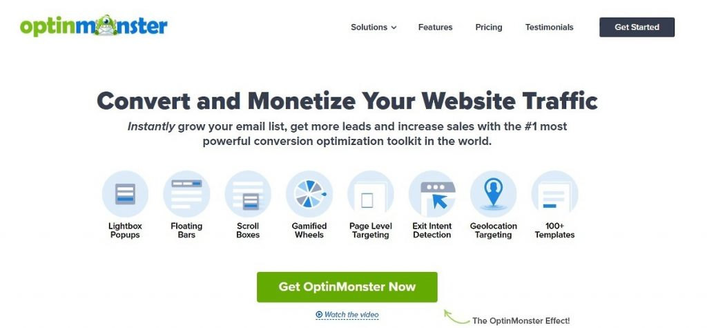OptinMonster homepage with its value proposition and call to action
