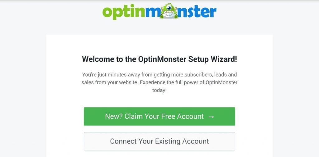 OptinMonster welcome page setup