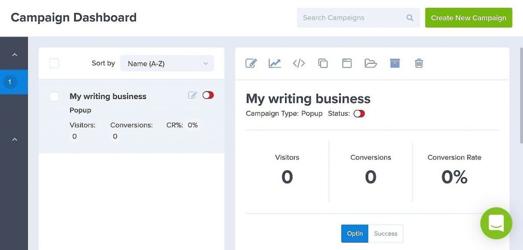 OptinMonster campaign dashboard for creating popup coupons for freelance writers