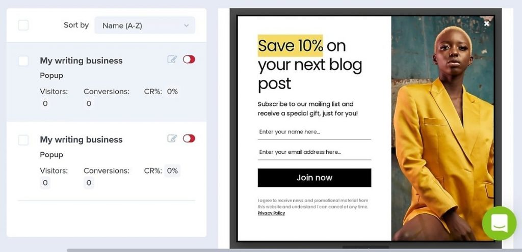 OptinMonster template with an example of a popup coupons for freelance writers