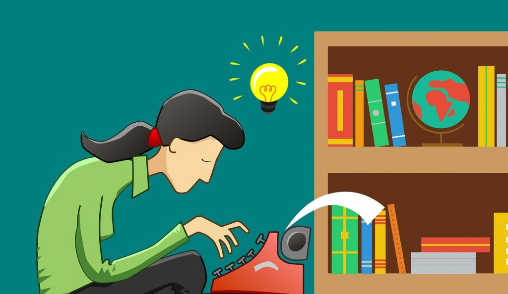 Colorful illustration of woman sitting at typewriter with an idea lightbulb above her head