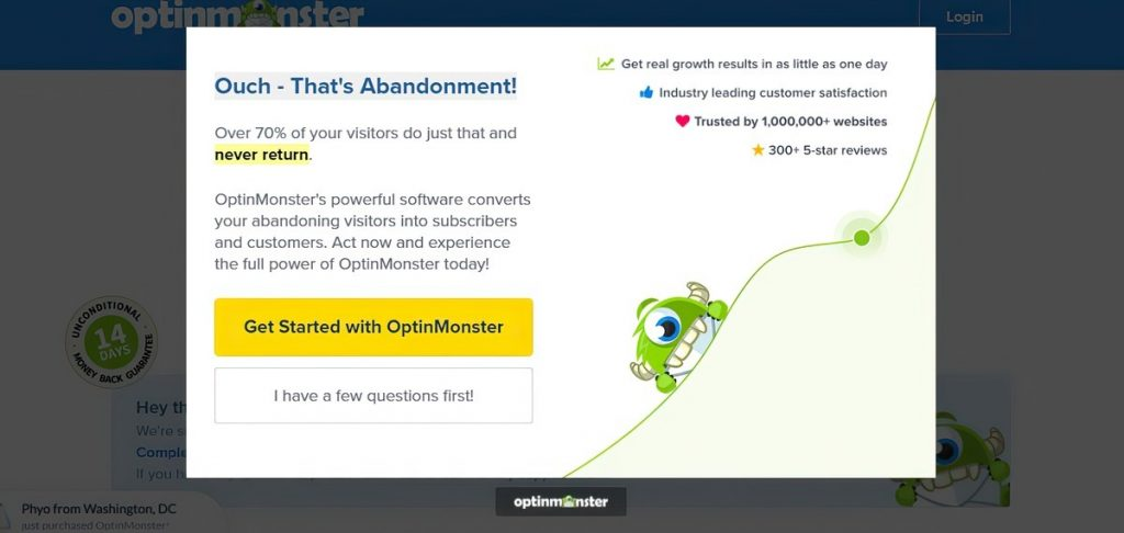 Exit intent popup example from OptinMonster